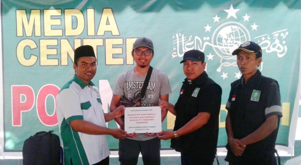 Karyawan PT. Freeport Percayakan Donasi Korban Gempa Melalui LAZISNU NTB