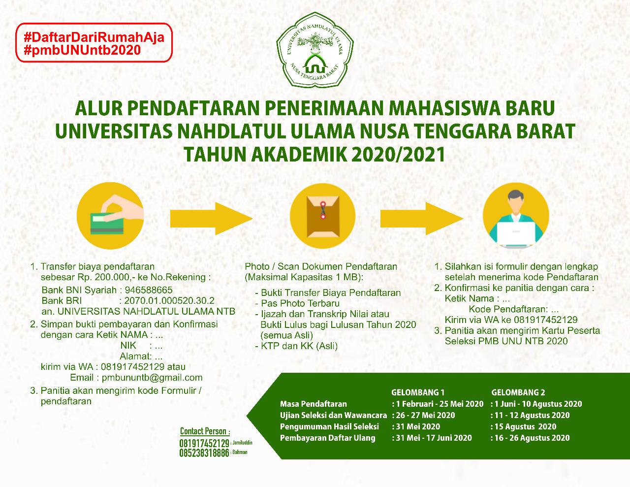 Alur Pendaftaran PMB Universitas Nahdlatul Ulama NTB Tahun Akademik 2020/2021