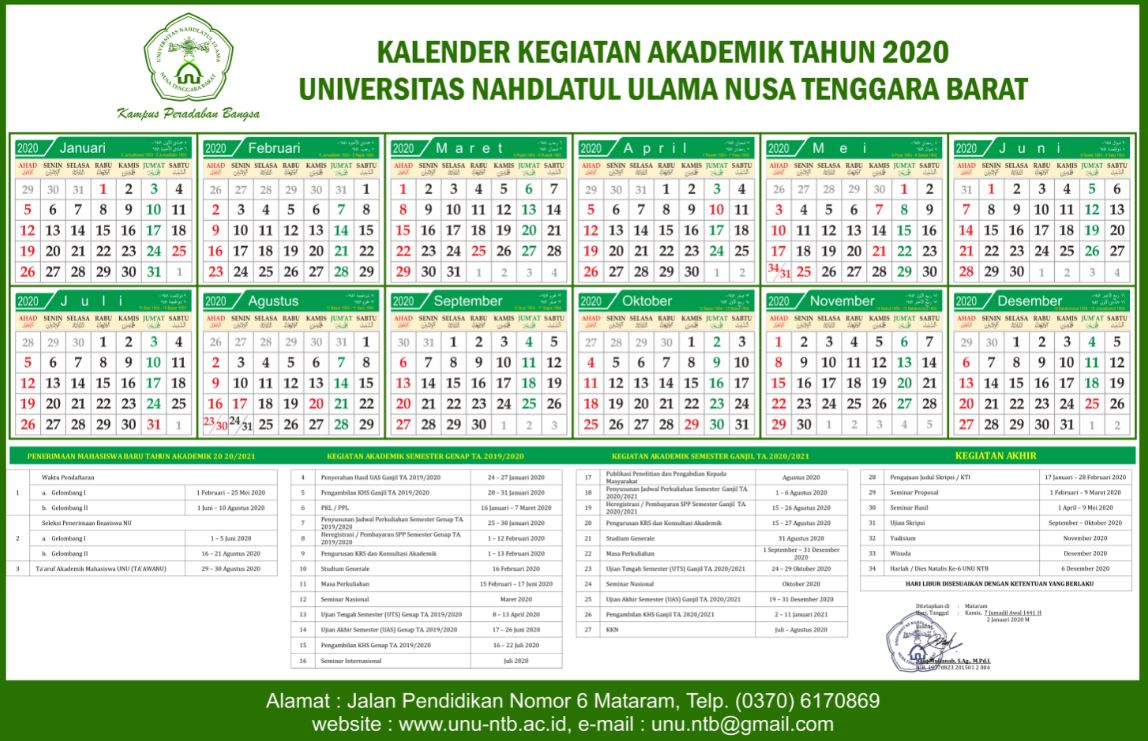 Kalender Kegiatan Akademik 2020 Universitas Nahdlatul Ulama NTB