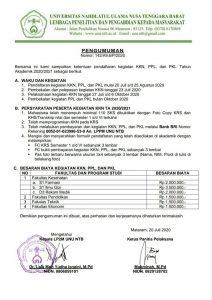 Pengumuman Pendaftaran KKN, PPL dan PKL Universitas Nahdlatul Ulama NTB
