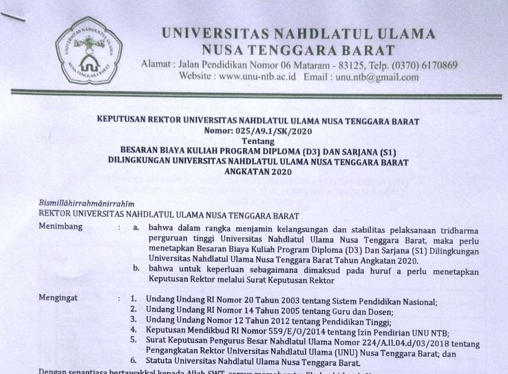 Besaran Biaya Kuliah Program Diploma (D3) dan Sarjana (S1) dilingkungan Universitas Nahdlatul Ulama NTB Angkatan 2020