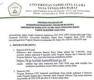 Pedoman Pelaksanaan Penrimaan Mahasiswa Program Beasiswa UNU NTB Tahun Akademik 2020/2021