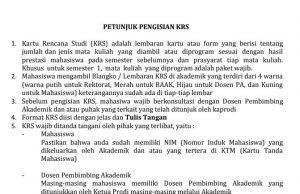 Petunjuk Pengisian KRS Universitas Nahdlatul Ulama NTB 2020