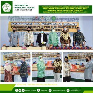 Penandatanganan Nota Kesepahaman dan Sosialisasi Pengawasan Partisipatif Pada Pemilihan Wali Kota dan Wakil Wali Kota Mataram Tahun 2020