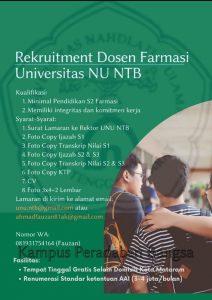 Lowongan Kerja Dosen Farmasi Fakultas Kesehatan Universitas Nahdlatul Ulama NTB