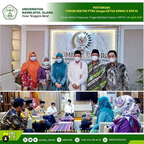 Rektor UNU NTB, Dr. Baiq Mulianah, M.Pd. menghadiri pertemuan antara Forum Rektor Perguruan Tinggi Nahdlatul Ulama dengan Komisi X DPR RI.